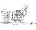 建筑手绘,手绘建筑,手绘素材