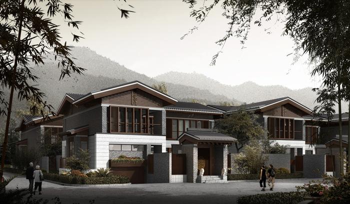中式联排别墅施工图 含效果图