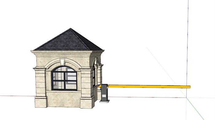 某欧式住宅小区岗亭设计su模型