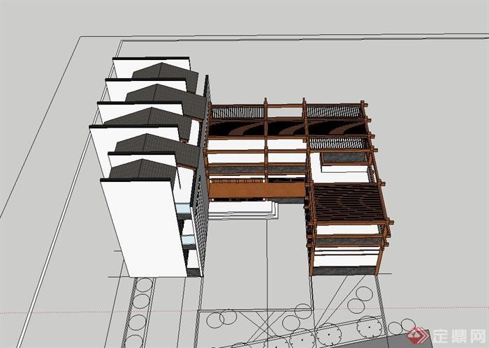 某现代中式风格茶楼建筑设计su模型[原创]