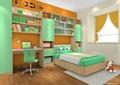 兒童房,榻榻米式床,書桌椅,書柜