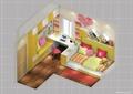 儿童房,榻榻米式床,桌椅,柜子