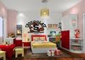 儿童房设计,床,书桌,衣柜,书架,桌椅组合