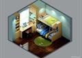 儿童房,高低床,桌椅,柜子