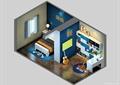 儿童房,书房,桌椅,书柜,儿童床