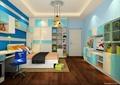 儿童房,榻榻米式床,桌椅,柜子,吊灯,衣柜
