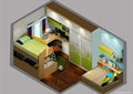 儿童房,高低床,儿童床,衣柜
