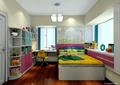 儿童房,书柜,儿童房床,桌椅,飘窗