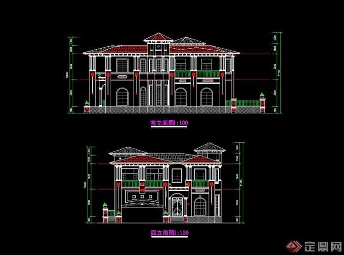 某2层欧式豪华别墅建筑设计cad方案含效果图[原创]