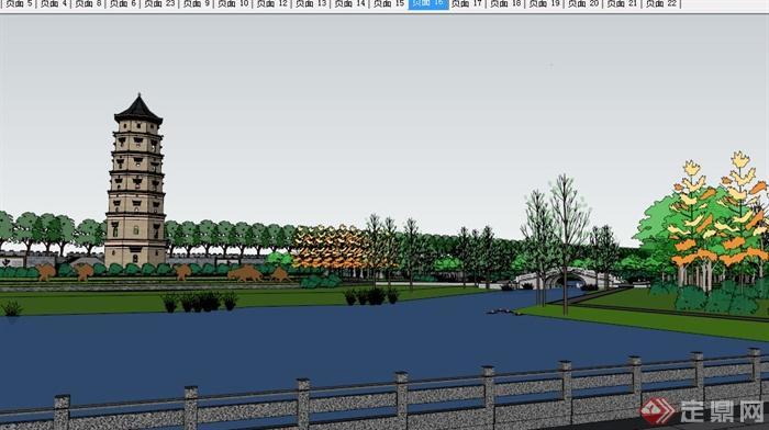 现代中式塔主题公园景观设计su模型