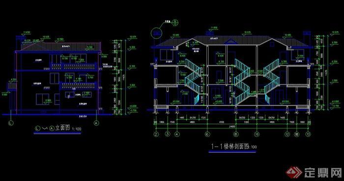 美式风格联排别墅建筑cad施工图