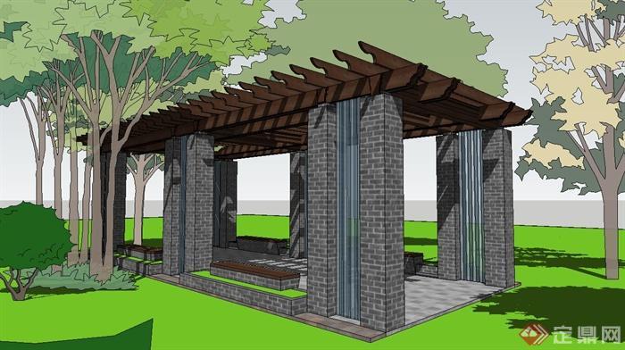某现代中式风格青砖廊架设计su模型(1)