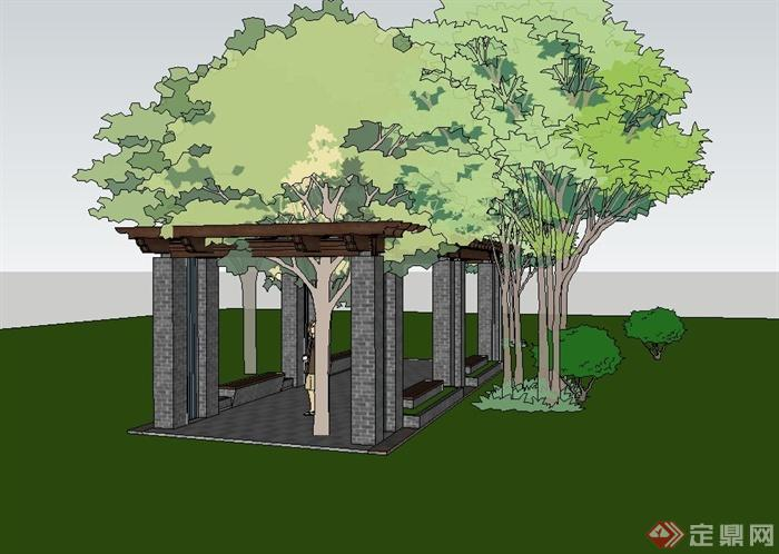 某现代中式风格青砖廊架设计su模型(2)