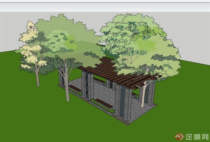 某现代中式风格青砖廊架设计su模型(3)