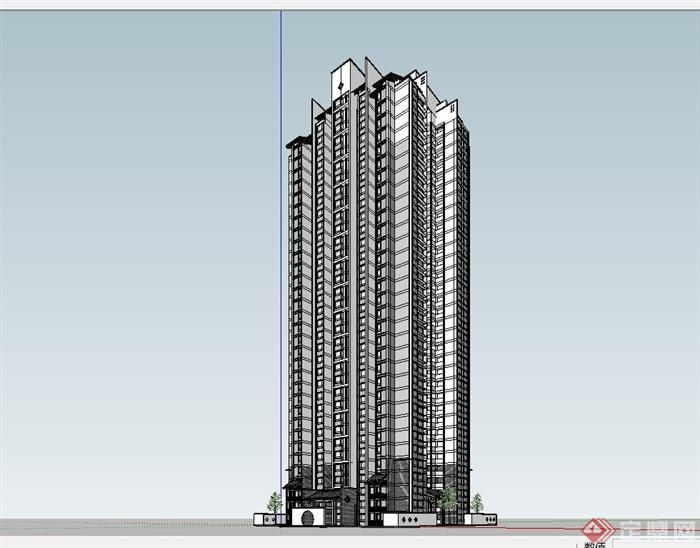 某现代中式风格高层住宅小区建筑设计su模型(4)图片