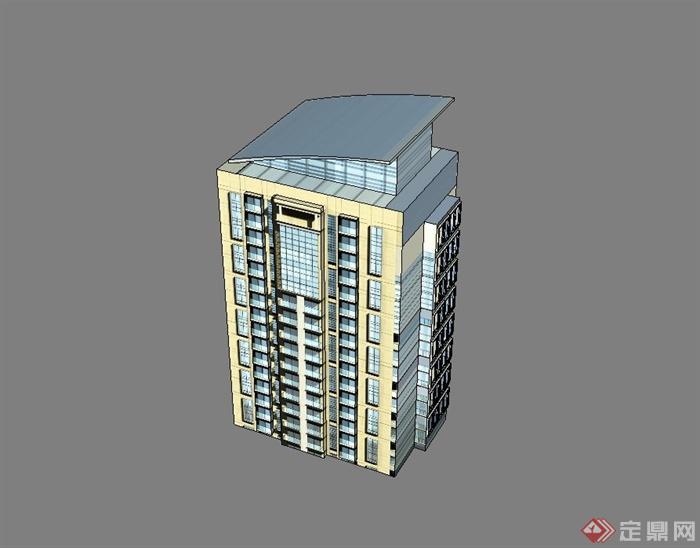 某現代風格小高層辦公樓設計su模型(2)