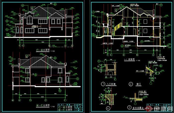 美式别墅全套cad施工图