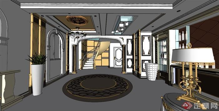 欧式别墅室内设计方案su模型素材[原创]