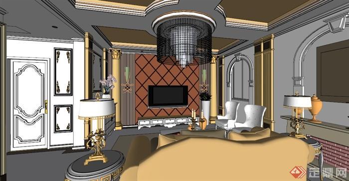 欧式别墅室内设计方案su模型素材(5)