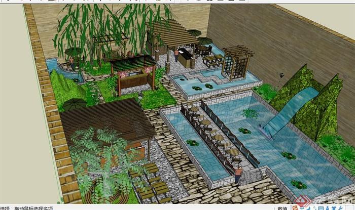 某带水池后院别墅庭院景观su模型[原创]