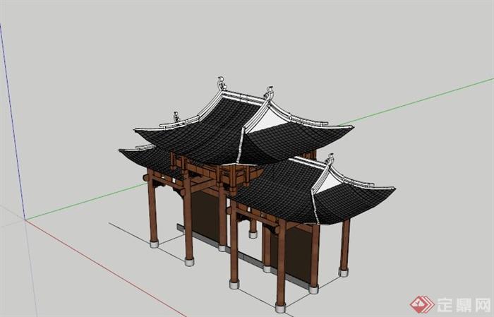 古典中式对称结构重檐大门设计su模型