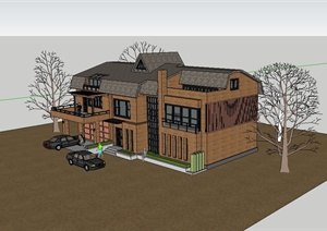 某混搭风格二层别墅建筑设计SU(草图大师)模型