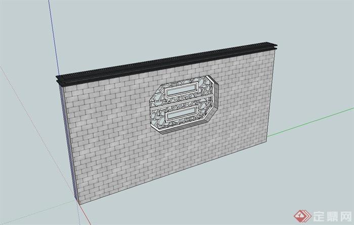 现代中式风格砖砌照壁景墙设计su模型