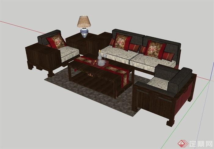 现代中式风格客厅沙发茶几组合设计su模型