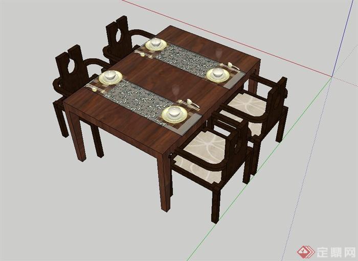 现代中式风格木质四人餐桌椅设计su模型