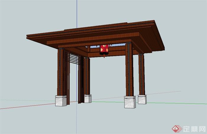 现代中式风格玻璃廊架设计su模型
