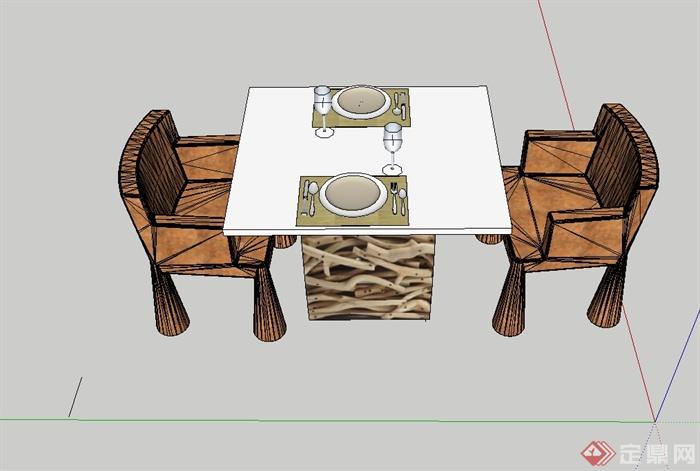 某现代两人餐桌椅设计su模型
