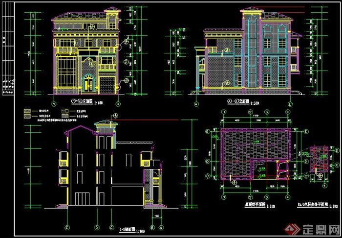 某美式风格四层别墅建筑cad施工图及效果图