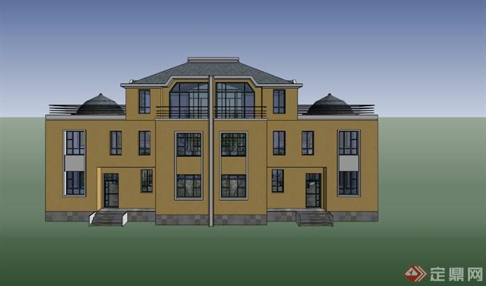 简约欧式黄色石材别墅设计su模型(3)图片