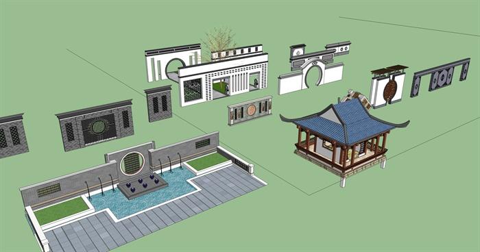 中式风格景墙,廊架,景墙大门合集大全设计su模型