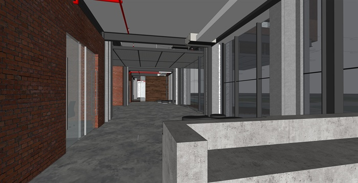 厂房室内设计SU模型