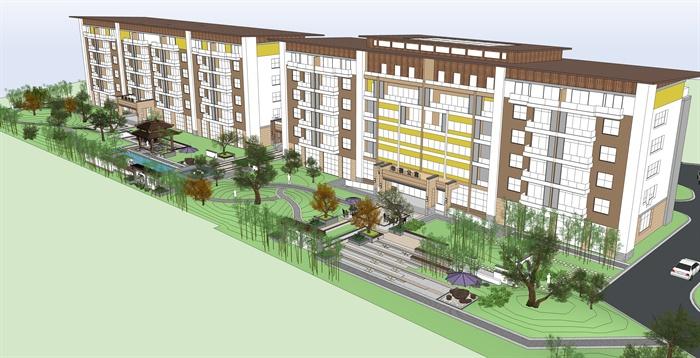 某现代风格福利院住宅楼建筑及休闲区景观设计su模型