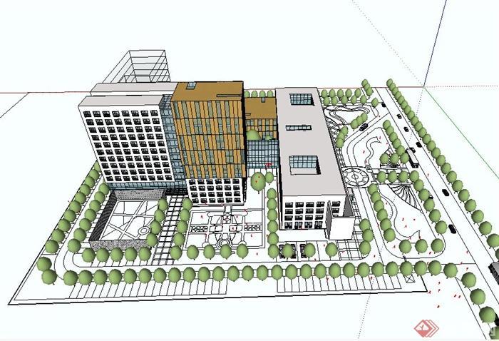 某现代风格医院建筑及详细规划设计su模型[原创]图片