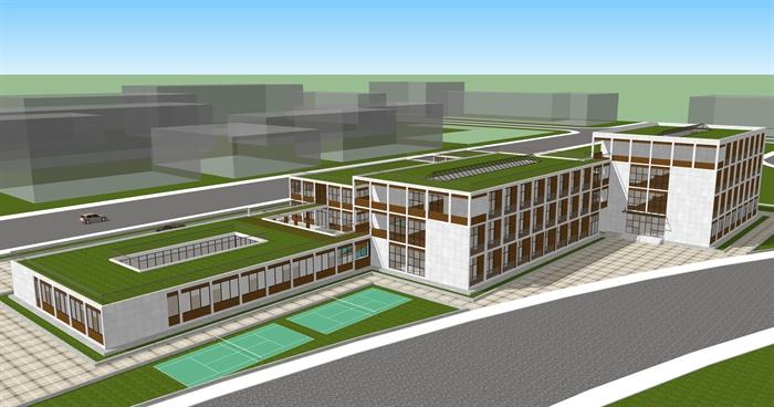 某现代风格工业厂区厂房设计su模型