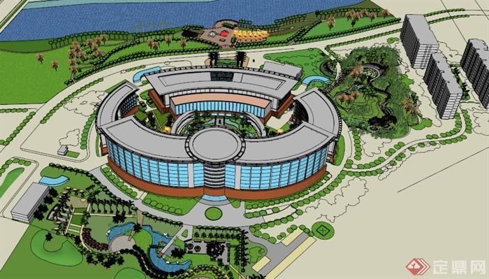 海南某现代圆形造型医院建筑设计su模型(1)