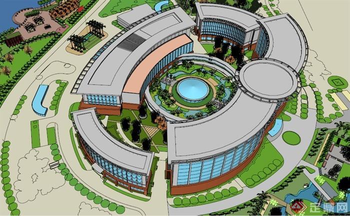 海南某现代圆形造型医院建筑设计su模型(2)