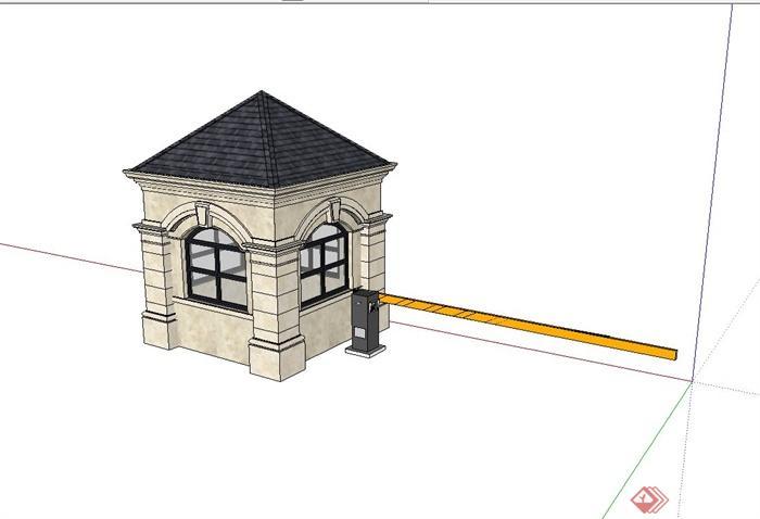 某欧式住宅小区岗亭设计su模型(3)