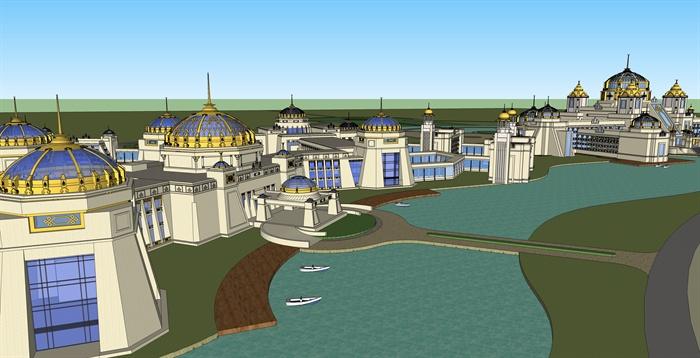 欧式度假酒店建筑su模型[原创]