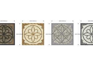 四个大理石地面拼花SU(草图大师)模型