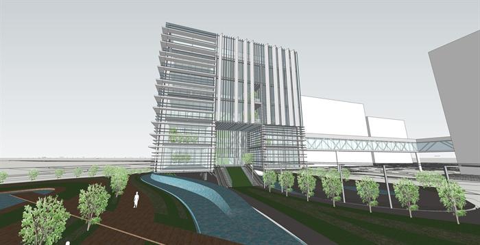 某现代风格玻璃幕墙办公楼建筑设计su模型[原创]