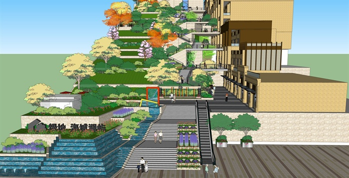 某现代山地公园设计su模型含建筑[原创]图片