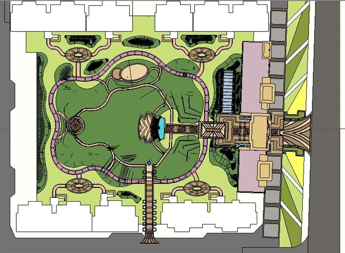 某欧式小区景观方案sketchup精致设计模型[原创]