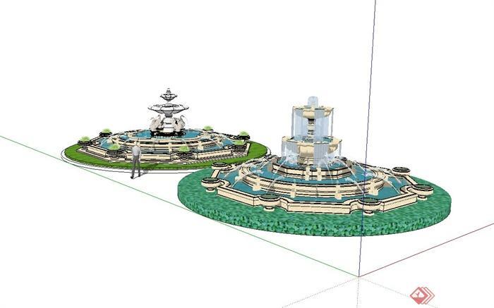 两个欧式喷泉水钵水景设计su模型[原创]