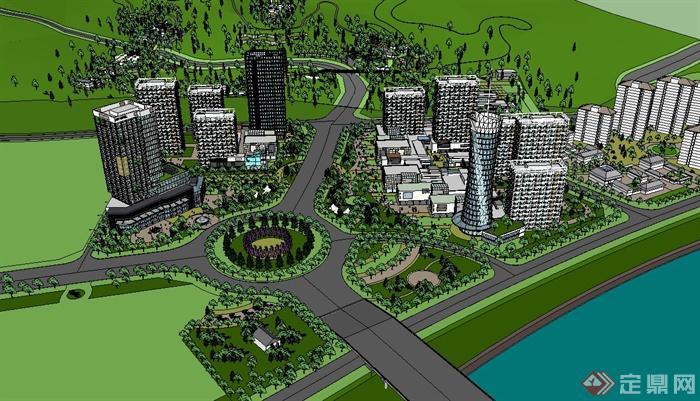 某现代风格滨江城市规划设计su模型,该模型有材质贴图,制作详细,可用于滨水城市设计使用,模型有材质贴图,有需要请自行下载使用。