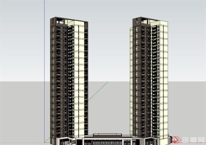两栋高层住宅建筑设计su模型素材(3)