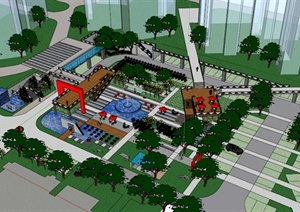 小区景观设计SketchUp模型